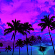 Tropical Palm Trees Silhouette Sunset Or Sunrise Poster