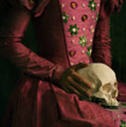 Tudor Woman Holding A Human Skull Poster