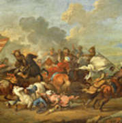 Two Battle Scenes Between Christians And Saracens Poster