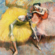 Two Dancers In Yellow And Pink Poster