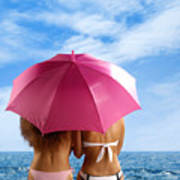 Two Women Relaxing On A Shore Poster