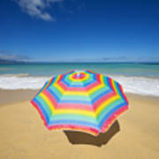 Umbrella On Beach Poster