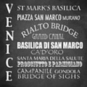 Venice Famous Landmarks Poster
