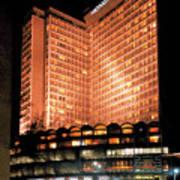 View Of Hong Kong Hilton At Night Poster