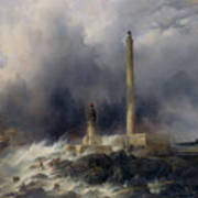 View Of The Lighthouse At Gatteville Poster by Jean Louis Petit