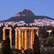 View Of The Temple Of Olympian Zeus And Mount Lycabettus In The  Poster