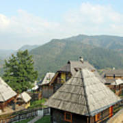Village On Mountain Rural Landscape Poster