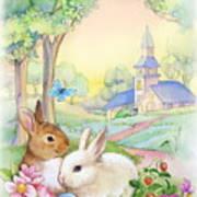 Vintage Easter Bunnies Poster