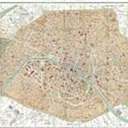 Vintage Map Of Paris  Poster