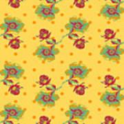 Vintage Wallpaper Seamless Rose Flower Pattern On Circles Polka  Poster