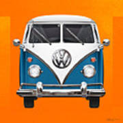 Volkswagen Type 2 - Blue And White Volkswagen T 1 Samba Bus Over Orange Canvas  Poster