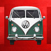 Volkswagen Type 2 - Green And White Volkswagen T 1 Samba Bus Over Red Canvas  Poster