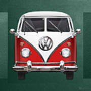 Volkswagen Type 2 - Red And White Volkswagen T 1 Samba Bus Over Green Canvas  Poster