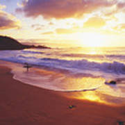 Waimea Bay Sunset Poster