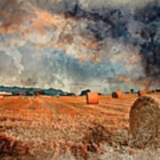 Watercolour Painting Of Beautiful Golden Hour Hay Bales Sunset L Poster