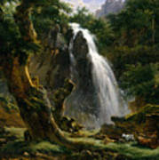 Waterfall At Mont-dore Poster