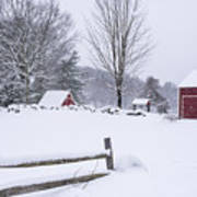 Wayside Inn Grist Mill Covered In Snow Storm Poster
