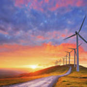 wind turbines in Oiz eolic park Poster