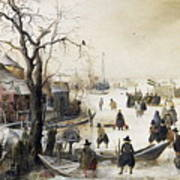 Winter Scene On A Canal Poster
