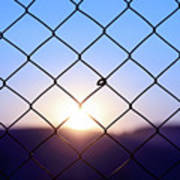 Wire Mesh Fence On A Sunset Background Poster