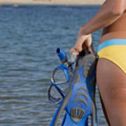 Woman Getting Ready To Go Snorkeling Poster