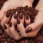 Woman Holding Coffee Beans In Her Hands Poster