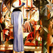 Woman In Front Of A Large Illuminated Window Poster