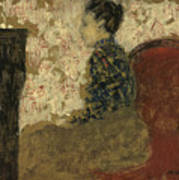 Woman Sitting By The Fireside Poster