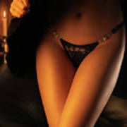 Woman Wearing Black Lacy Panties Poster
