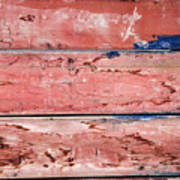 Wood Background With Faded Red Paint Poster