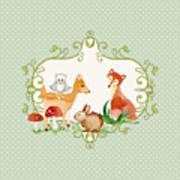 Woodland Fairytale - Animals Deer Owl Fox Bunny N Mushrooms Poster