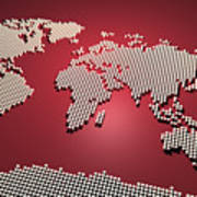 World Map In Red Poster by Michael Tompsett