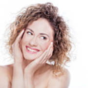 Young Smiling Woman With Curly Hair Portrait On White Poster
