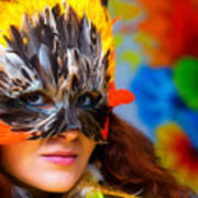 Young Woman With A Colorful Feather Carnival Face Mask On Bright Colorful Background Eye Contact Poster