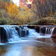 Zion Autumn Foliage Waterfall Poster