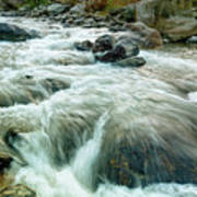 River Water Flowing Through Rocks At Dawn Poster