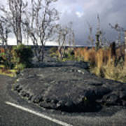 100925 Lava Flow On Road Hi Poster