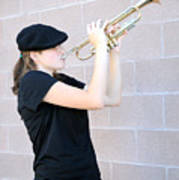Female Trumpet Player. Poster