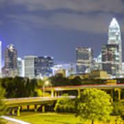 Downtown Of Charlotte  North Carolina Skyline Poster