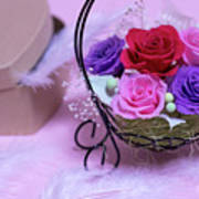 A Gift Of Preservrd Flower And Clay Flower Arrangement, Colorful Poster