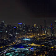 Chicago Night Skyline Aerial Photo Poster