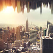 New York Midtown Skyline - Aerial View Poster