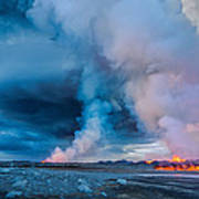 Volcano Eruption At The Holuhraun Poster