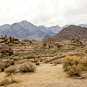 Rocks, Mountains And Sky At Alabama Hills, The Mobius Arch Loop  Poster