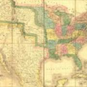 1839 Map Showing Us-mexican Boundary Poster by Everett