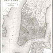 1839 New York City Map Poster