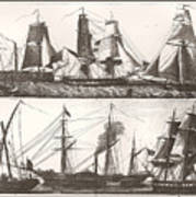 1850 European Sailing Ship Poster