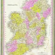 1850 Vintage Map Of Ireland Poster