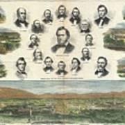 1866 Harpers Weekly View Of Salt Lake City Utah W Brigham Young Mormons Poster