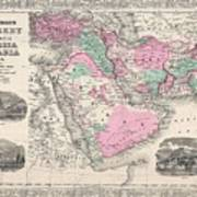 1866 Johnson Map Of Arabia Persia Turkey And Afghanistan Iraq Poster